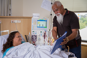 Photograph of Aboriginal patient with staff member
