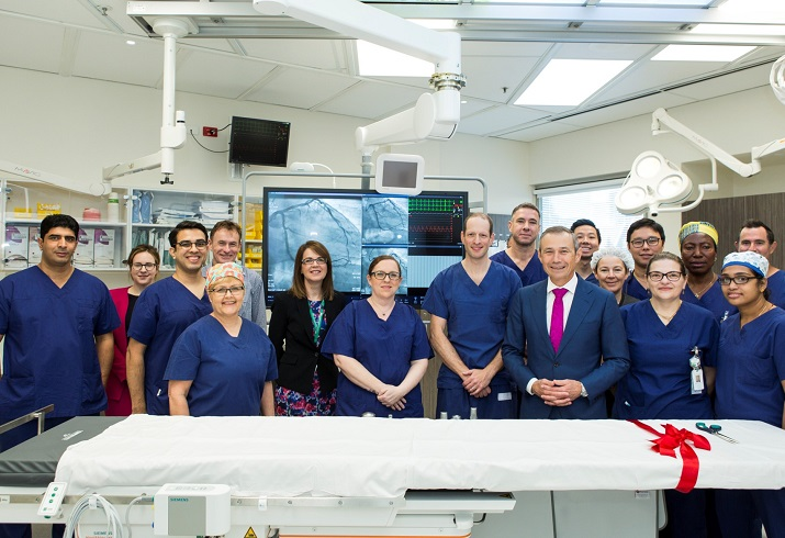 Photograph of staff with new cath lab