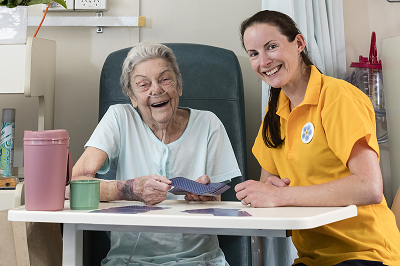 Photograph of Forget Me Not volunteer with patient